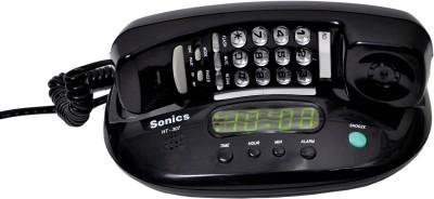 Sonics HT-307 Black Corded Landline Phone (Black)