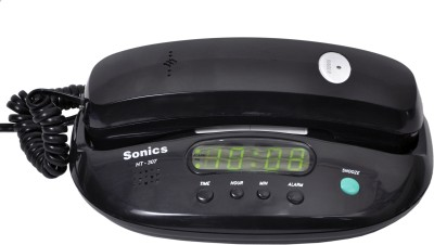 Sonics HT-307 Black Corded Landline Phone (Black)