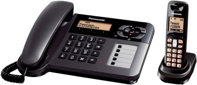 Panasonic KX TG 6458 Corded & Cordless Landline Phone (Black)