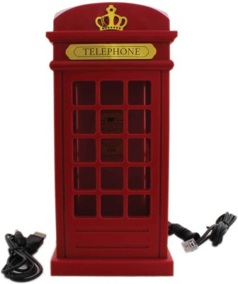 Tootpado Phone Booth Design Corded Landline Telephone - Novelty Home Decor Creative Fixed Corded Landline Phone (Red)