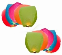Lamps Of India Multicolor Paper Sky Lantern (85 Cm X 45 Cm, Pack Of 10)