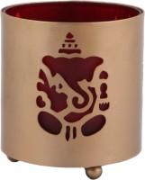 JaipurCrafts Decorative Lord Ganesha Gold Brass Lantern (10.16 Cm X 7.62 Cm, Pack Of 2)