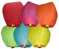 Skycandle Oval Multicolor Paper Sky Lantern (80 Cm X 45 Cm, Pack Of 6)