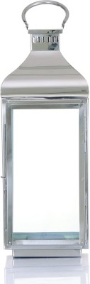 Ninety One Degree Silver Pillar Steel Stainless Steel Lantern (52 Cm X 20 Cm)