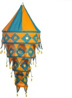 Smile2u Retailers Rajasthani Embroidered Fabric Blue, Orange Cotton Lantern (90 Cm X 45 Cm, Pack Of 1)