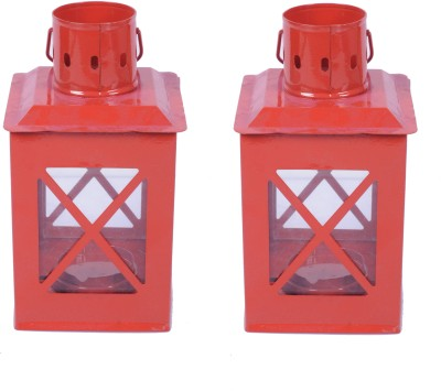 Sutra Décor Tealight Hut Candle Holder Set Of 2 Red Iron Lantern (21.25 Cm X 8.125 Cm, Pack Of 2)