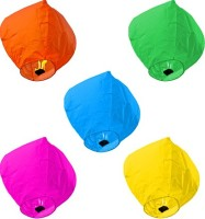 Skycandle Multicolor Paper Sky Lantern (80 Cm X 45 Cm, Pack Of 5)