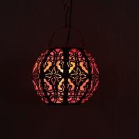 Furncoms Red Steel Lantern (20 Cm X 20 Cm, Pack Of 1)