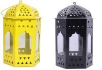 Decorate India Set 2 Yellow, Black Iron, Glass Lantern (16 Cm X 10 Cm, Pack Of 2)