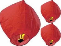 Singh Xpress Exciting Flying Paper Hot Air Balloon With Burning Kit (Combo Of 25) Red Paper Sky Lantern (81 Cm X 30 Cm, Pack Of 25)