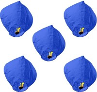 Skycandle Blue Sky Lanterns Blue Paper Sky Lantern (80 Cm X 45 Cm, Pack Of 5)