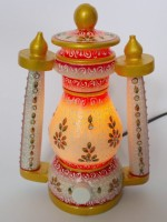 Dekor World Hand Painted Gold Embossed With Bulb Stoneware Lantern: Lantern