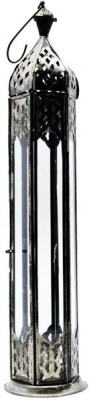 Decor Tattva Inc. Silver Steel, Glass Lantern (40 Cm X 8 Cm, Pack Of 1)