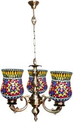 Weldecor Antiqua Brasso Diamond Cut Hanging 3 Glass Lamp