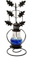 My Art Blue, Red, Orange Iron, Glass Lantern (26 Cm X 10 Cm, Pack Of 2)