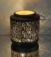 Logam Venice Black And Gold Multicolor Iron Lantern (23 Cm X 23 Cm, Pack Of 1)