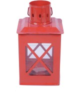 Sutra Decor Hut Glass Candle Holder (Red, Pack Of 1)