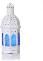 Ninety One Degree Blue Shade Round Multicolor Iron Lantern (48 Cm X 20 Cm)