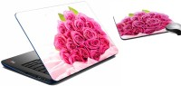 MeSleep Pink Rose Laptop Skin And Mouse Pad 370 Combo Set (Multicolor)