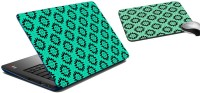 MeSleep Sea Green Pattern Laptop Skin And Mouse Pad 176 Combo Set (Multicolor)