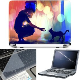 FineArts Anime Girl with Cat 3 in 1 Laptop Skin Pack With Screen Guard & Key Protector Combo Set