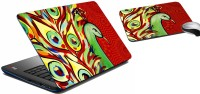 MeSleep Red Peacock Laptop Skin 208 Combo Set (Multicolor)