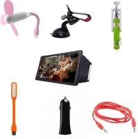 BIGKIK MINI SELFIE STICK, MOBILE HOLDER, USB FAN, 3D F2 HD PHONE SCREEN, PORTABLE LAMP,CAR CHARGER, AUX CABLE Combo Set (MULTI)