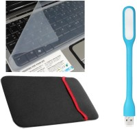QP360 Sleeve Case 17inch,Skin 14inch,USB Light Light Blue Combo Set (Transparent, Light Blue)