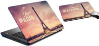 MeSleep Love Paris Laptop Skin And Mouse Pad 262 Combo Set (Multicolor)