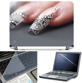 FineArts Nail Paint 3 in 1 Laptop Skin Pack With Screen Guard & Key Protector Combo Set