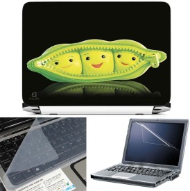 FineArts Pea Cute 3 in 1 Laptop Skin Pack With Screen Guard & Key Protector Combo Set