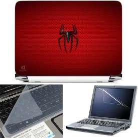 FineArts Spider Red Texture 3 in 1 Laptop Skin Pack With Screen Guard & Key Protector Combo Set