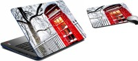 MeSleep Snow Telephone Booth Laptop Skin 232 Combo Set (Multicolor)