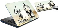 MeSleep I LOVE MY FRIEND Laptop Skin And Mouse Pad 263 Combo Set (Multicolor)