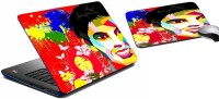 MeSleep Color Blast Laptop Skin And Mouse Pad 335 Combo Set (Multicolor)