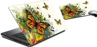 MeSleep Butterfly Laptop Skin And Mouse Pad 77 Combo Set (Multicolor)