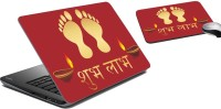 MeSleep Shubh Labh Laptop Skin And Mouse Pad 14 Combo Set (Multicolor)