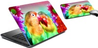 MeSleep Love Bird Laptop Skin And Mouse Pad 67 Combo Set (Multicolor)