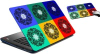 MeSleep Square Circle Laptop Skin And Mouse Pad 171 Combo Set (Multicolor)