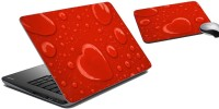 MeSleep Red Hearts Laptop Skin And Mouse Pad 43 Combo Set (Multicolor)