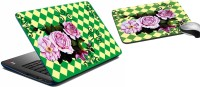 MeSleep Green Rose Laptop Skin 204 Combo Set (Multicolor)