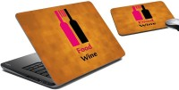 MeSleep Wine Laptop Skin And Mouse Pad 9 Combo Set (Multicolor)