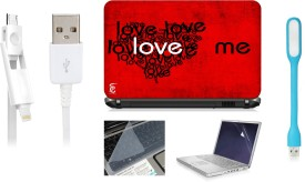 Print Shapes love me LAPTOP SKIN WITH SCREEN PROTECTOR , KEY GUARD,USB LED AND USB CHARGING DATA CABLE Combo Set