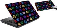 MeSleep Multi-Colour Heart Laptop Skin And Mouse Pad 75 Combo Set (Multicolor)