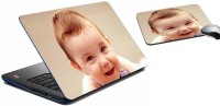 MeSleep Smiling Baby Laptop Skin And Mouse Pad 318 Combo Set (Multicolor)