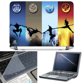 FineArts Ninja 3 in 1 Laptop Skin Pack With Screen Guard & Key Protector Combo Set