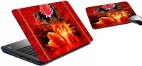 MeSleep Red Rose Laptop Skin 202 Combo Set (Multicolor)