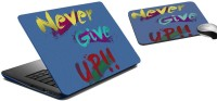 MeSleep Never Give Up Laptop Skin And Mouse Pad 145 Combo Set (Multicolor)