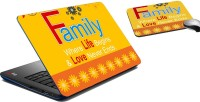 MeSleep Family Life Laptop Skin And Mouse Pad 169 Combo Set (Multicolor)