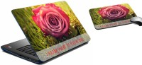 MeSleep Pink Rose Laptop Skin And Mouse Pad 332 Combo Set (Multicolor)